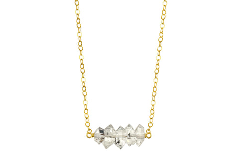 Elements Herkimer Diamond yellow gold filled necklace - quick ship
