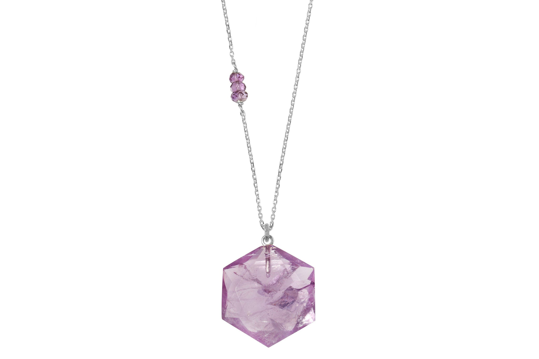 Hexagon Amethyst crystal sterling silver necklace