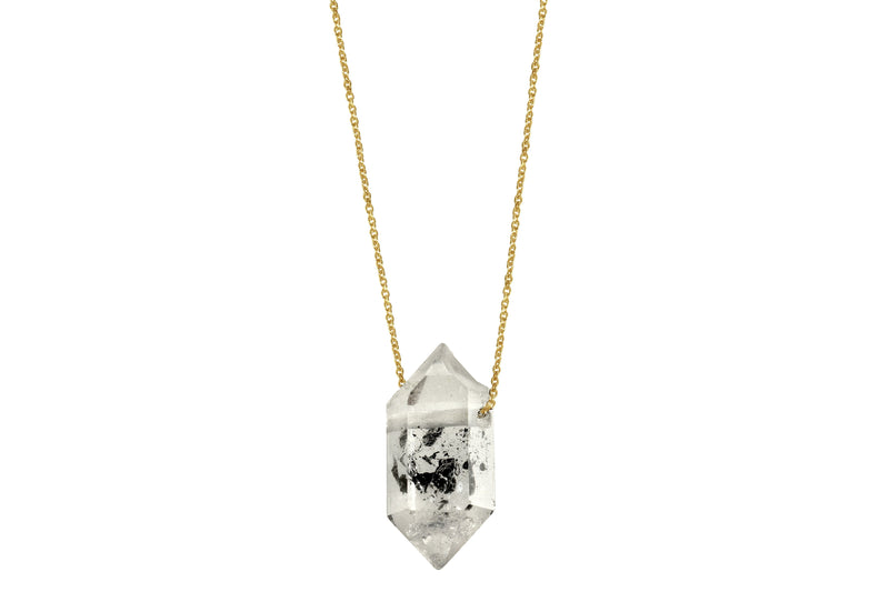 Tara necklace - 14K gold tibetan quartz floating crystal necklace