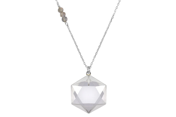 Hexagon crystal sterling silver necklace - choose clear quartz, citrine, amethyst or smoky quartz