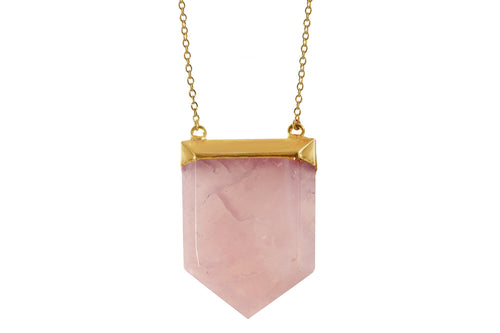 Priya - rose quartz shield statement 14K yellow gold filled necklace necklace Amanda K Lockrow