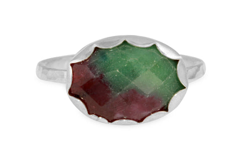 Ruby zoisite sterling silver ring - size 9