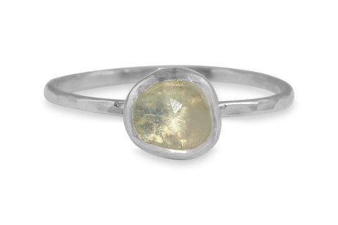 Rainbow moonstone sterling silver ring - size 8