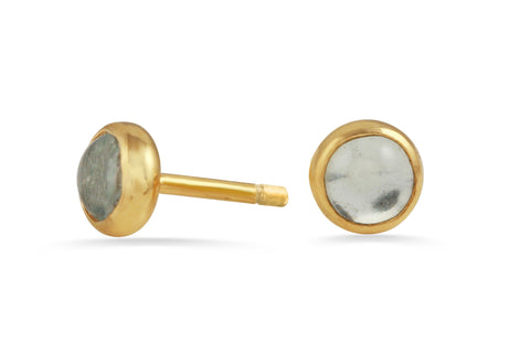 18K gold vermeil Aquamarine birthstone dot stud earrings