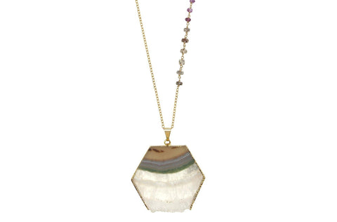 Thea - Amethyst and Rutilated Quartz 30 inch necklace