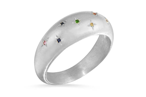 Stargazer rainbow sapphire sterling silver ring - size 6