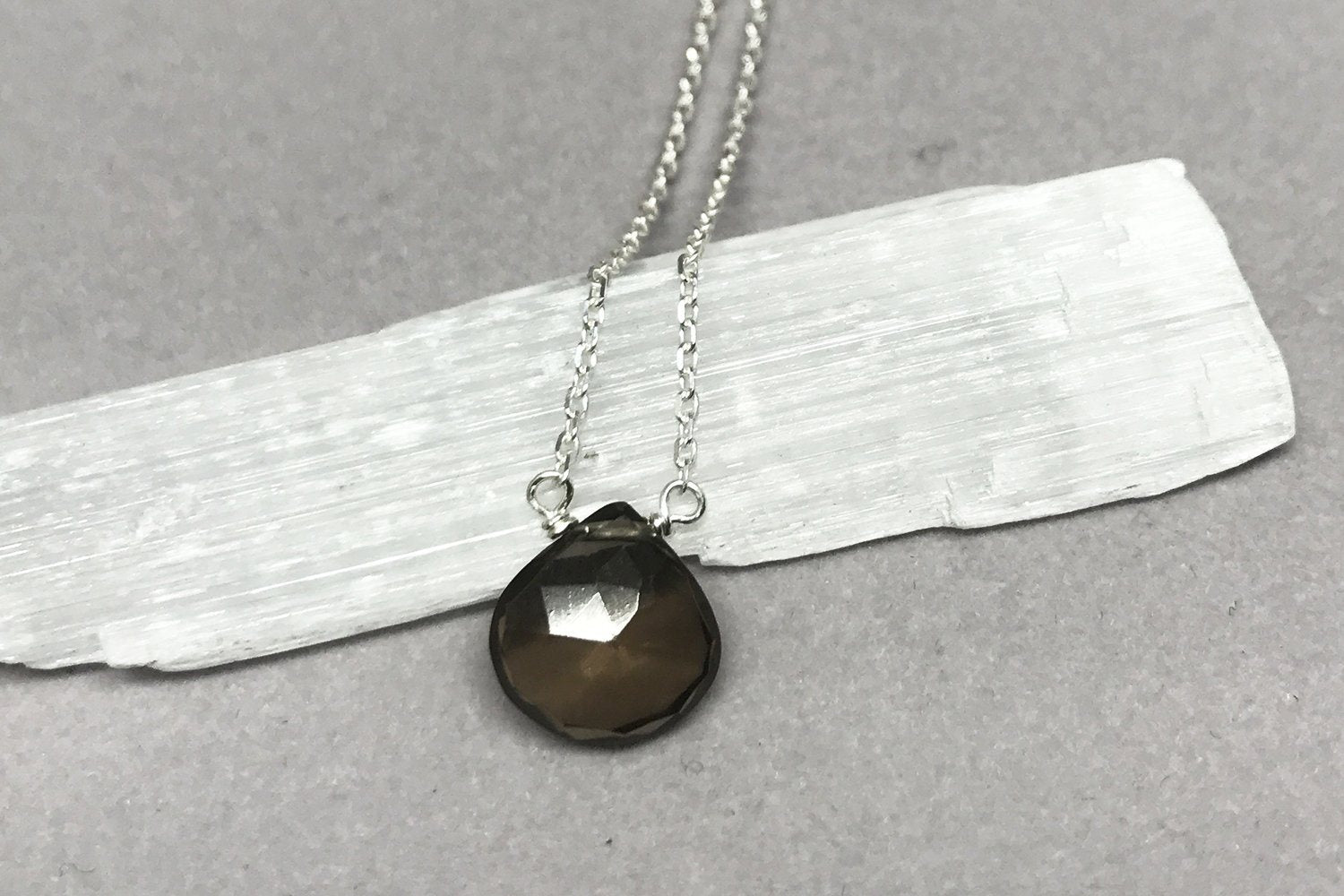 Smoky quartz little rock sterling silver necklace