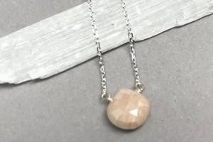 Dainty pink moonstone sterling silver necklace // bridesmaid gift - Amanda K Lockrow