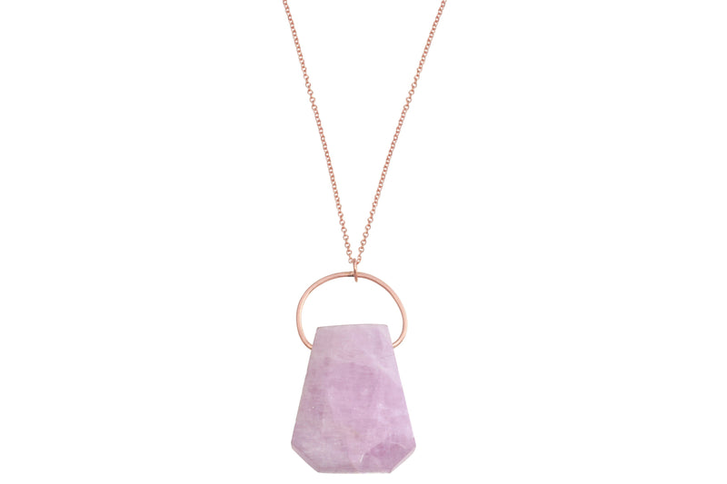 Kunzite crystal necklace - choose metal and length