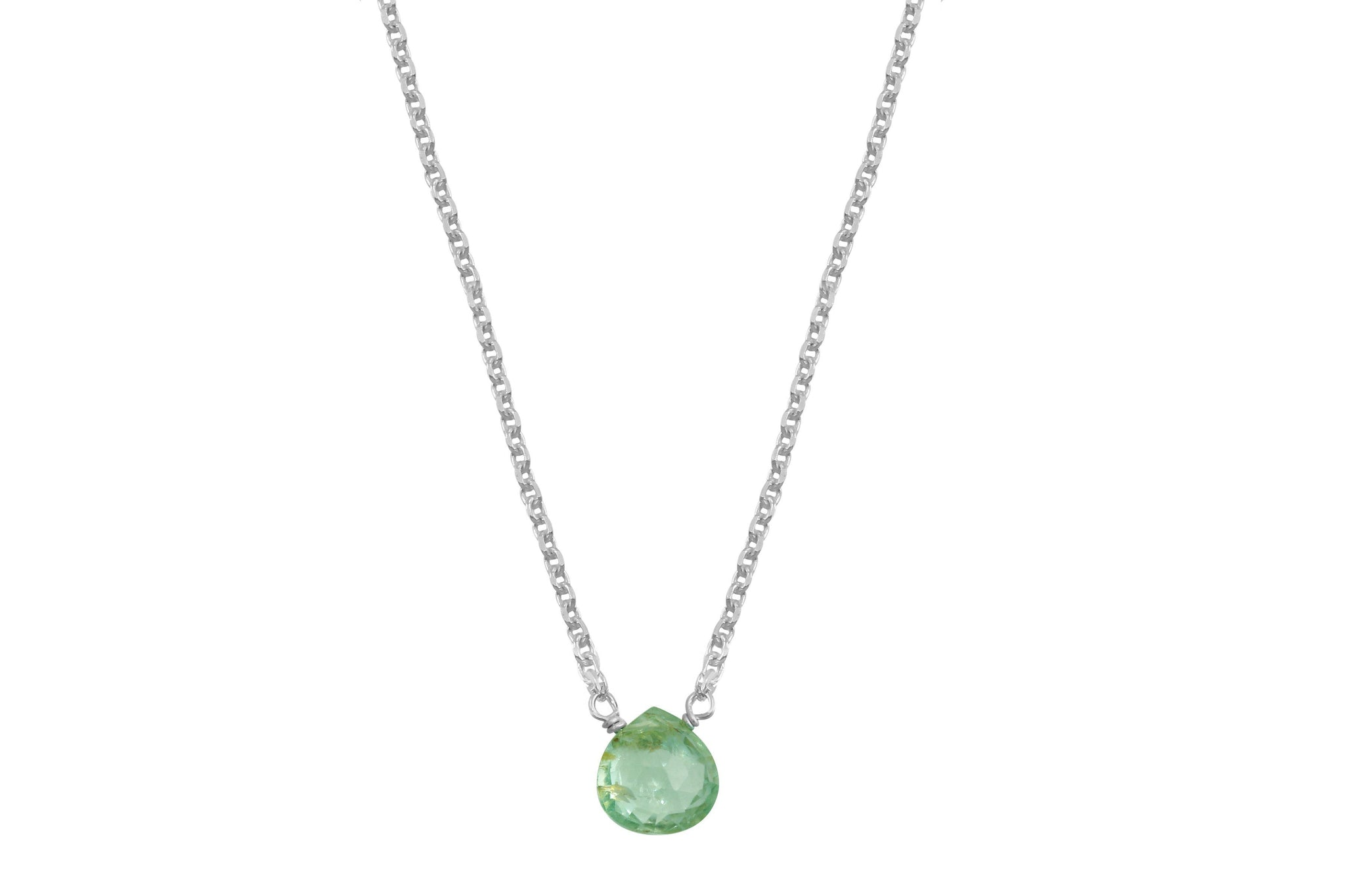 Moss aquamarine little rock sterling silver necklace