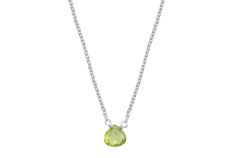 Little rock dainty peridot sterling silver necklace // crystal necklace