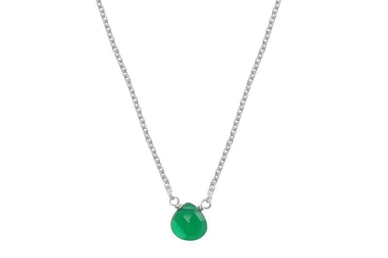 Green onyx little rock necklace - sterling silver or gold filled