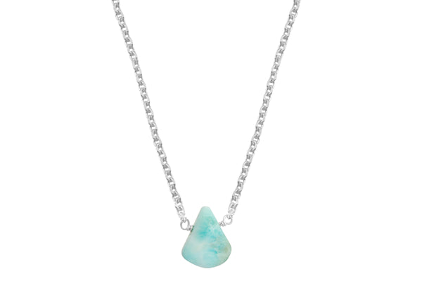 Larimar little rock necklace - choose sterling silver or gold filled