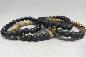 Men's diffuser stone stretchy bracelet - jasper, tiger's eye, black onyx