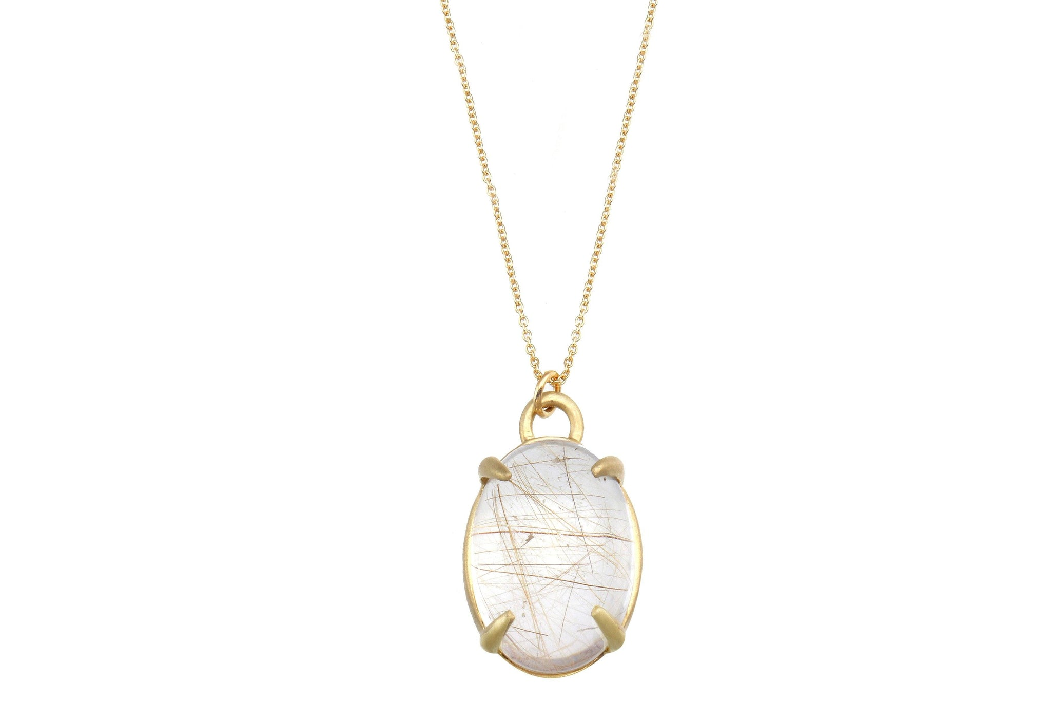 Aislinn rutilated quartz 14K gold necklace