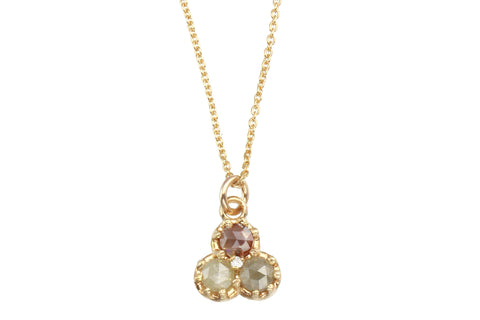 14k yellow gold and rosecut diamond necklace