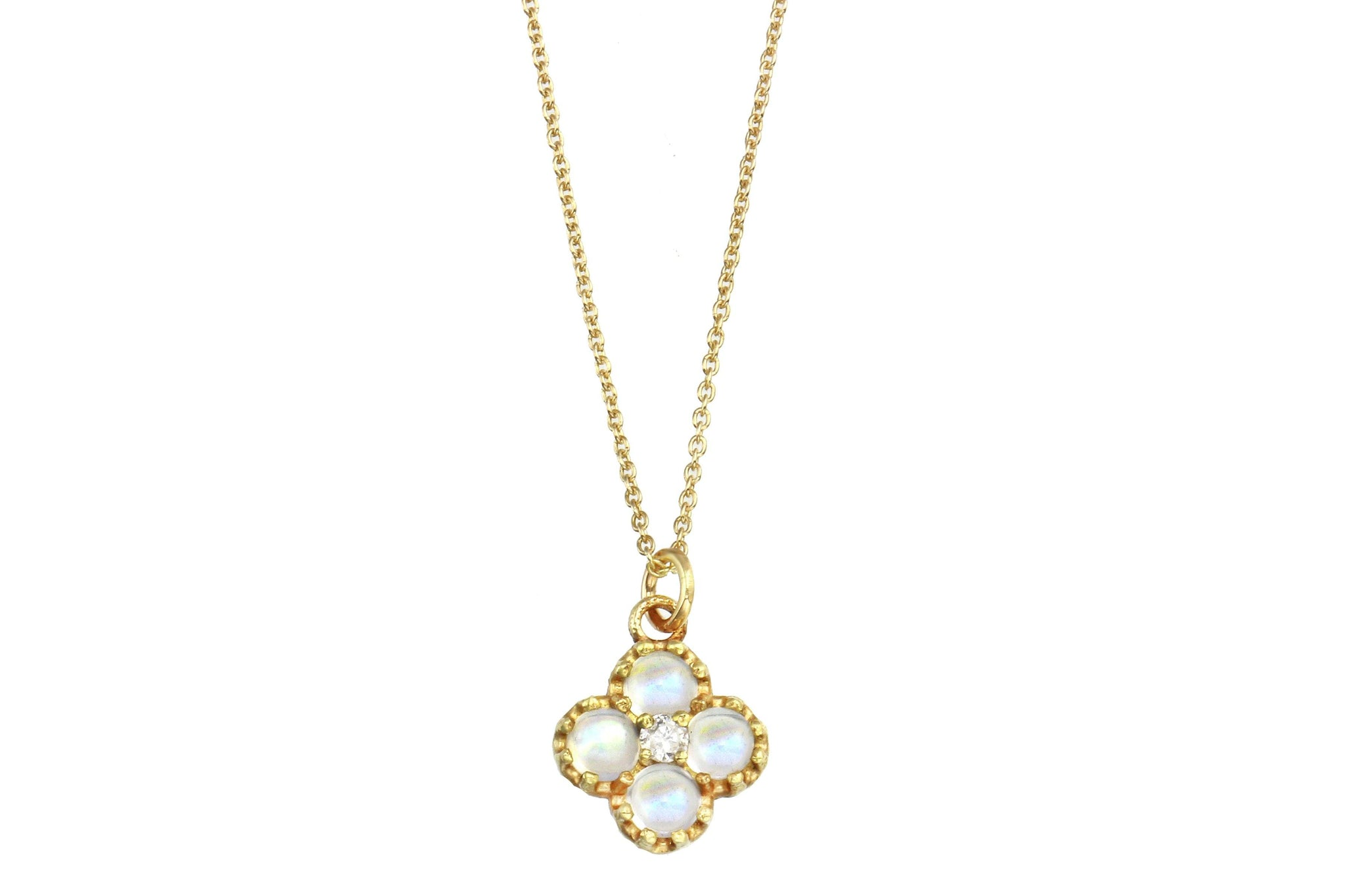 14k yellow gold and rainbow moonstone necklace