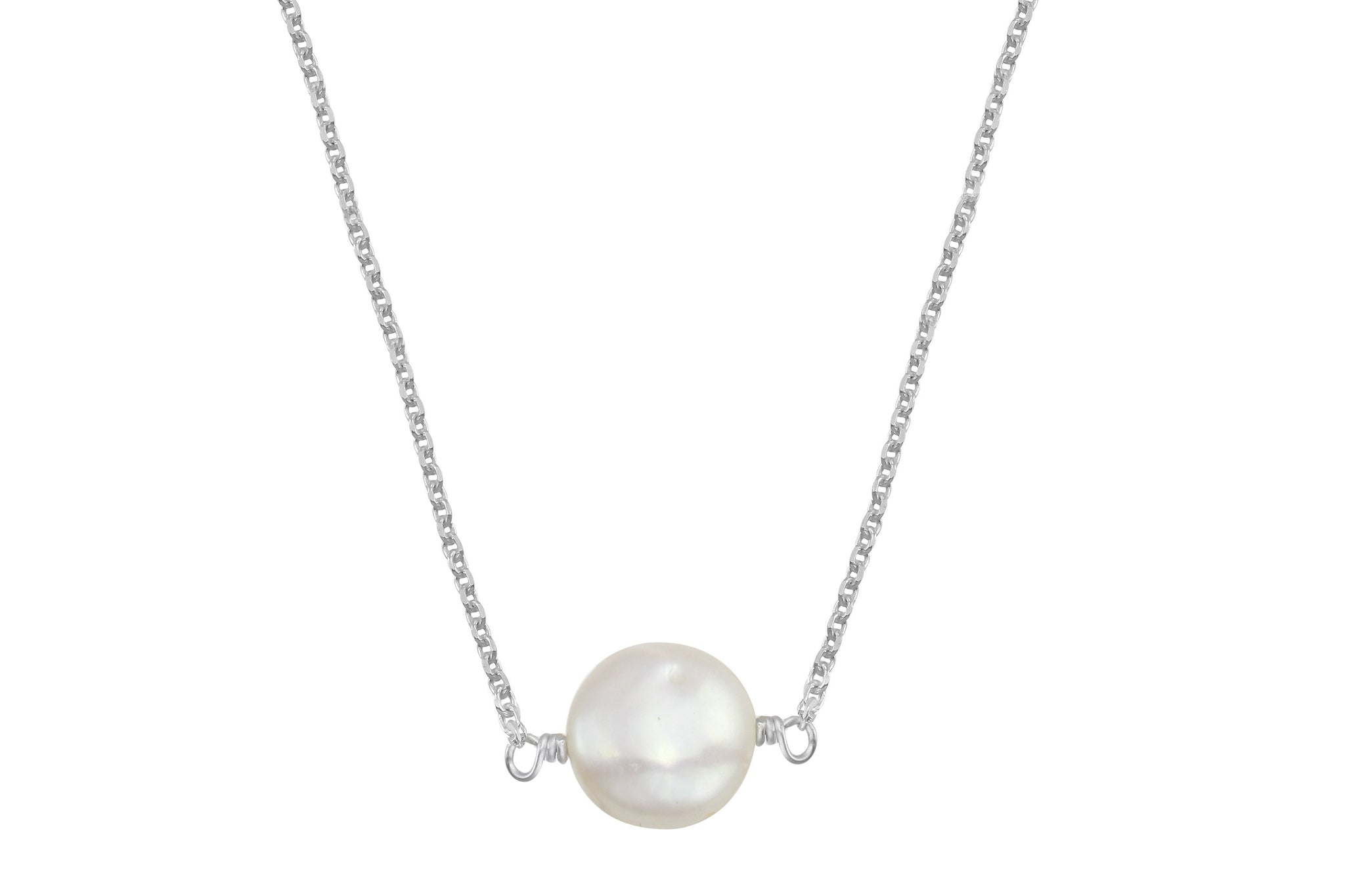 White coin pearl little rock sterling silver necklace