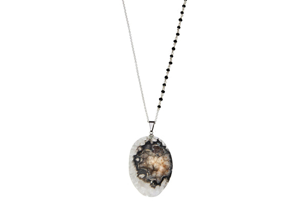 Long druzy and spinel 30 inch necklace