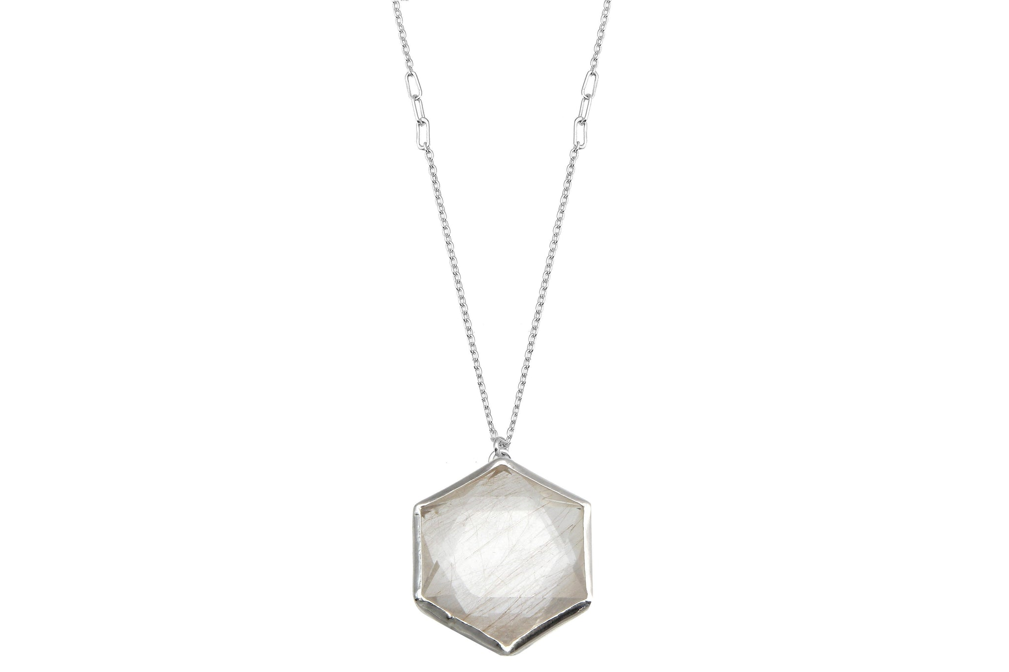 Aislinn hexagon rutilated quartz sterling silver necklace