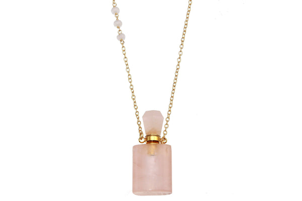 Rose quartz crystal potion necklace - for potions, perfume or oils