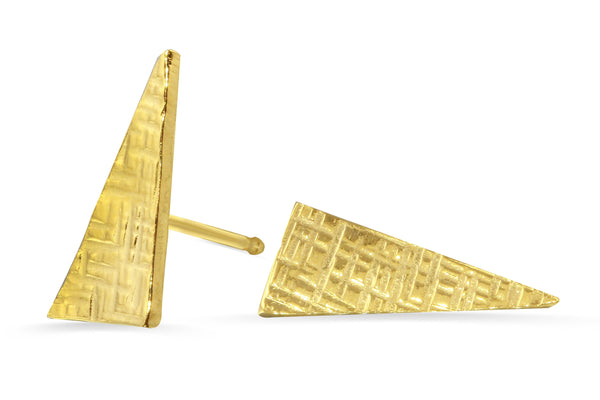 18K yellow vermeil triangle crosshatched stud earrings