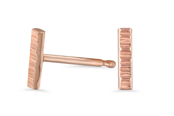14k rose gold dainty stick stud earrings