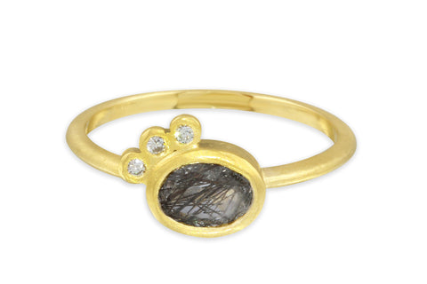 Aislinn 10K tourmalinated quartz and diamond ring size 8