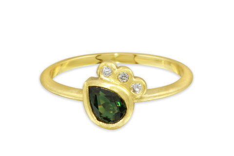 10K green tourmaline and diamond ring size 7