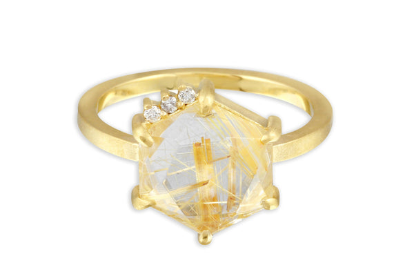 Aislinn 10K gold golden rutilated quartz and diamond ring size 9