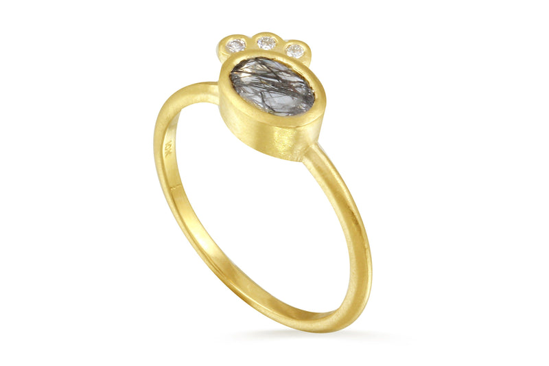 10K gold tourmalinated quartz and diamond ring - Aislinn Collection ring Amanda K Lockrow
