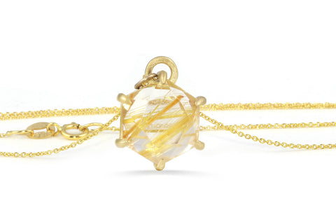 Aislinn 10K gold golden rutilated quartz necklace