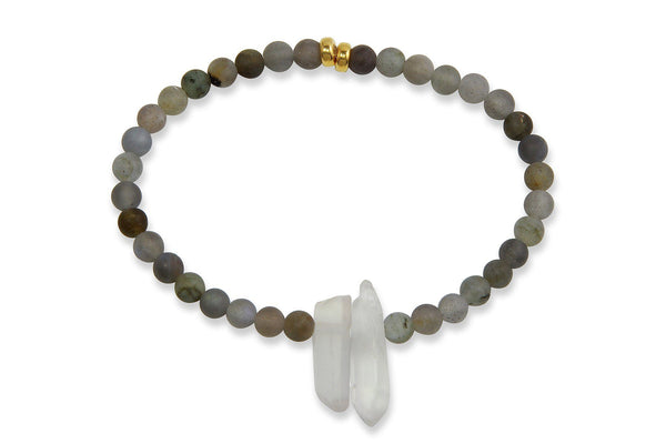 InGauge bracelet - labradorite & clear quartz, 4mm - Amanda K Lockrow