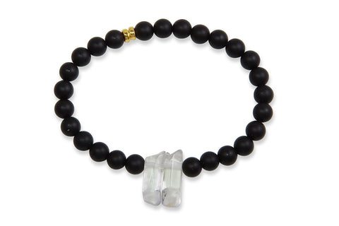 InGauge bracelet - black onyx & clear quartz, 6mm