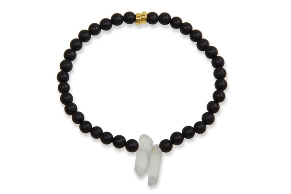 InGauge bracelet - black onyx & clear quartz, 4mm - Amanda K Lockrow