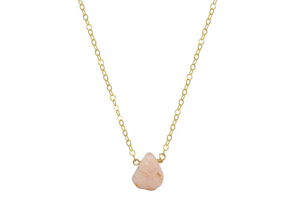 Raw Pink Opal 14k yellow gold filled necklace
