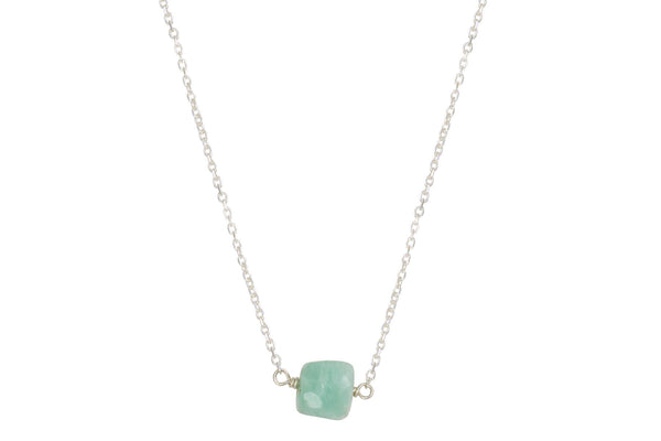 Amazonite cube little rock necklace