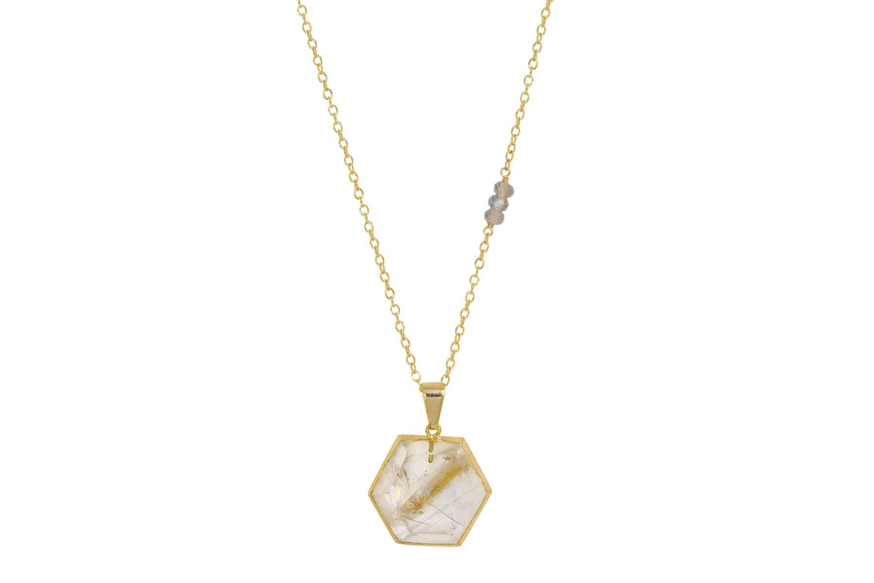 Harmonia Rutilated Quartz Necklace - a collaboration with Casey Van Zandt - Amanda K Lockrow