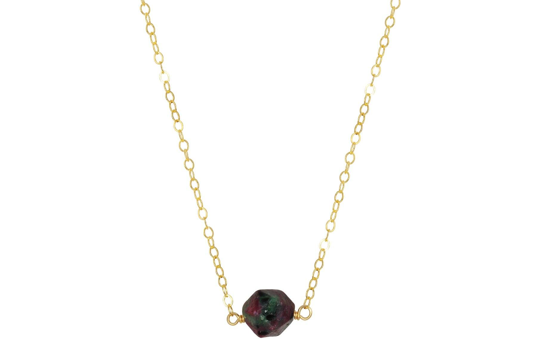 Ruby in Zoisite faceted nugget 14K yellow gold filled necklace - Amanda K Lockrow