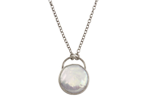 Alvina necklace - pearl and sterling silver - Amanda K Lockrow