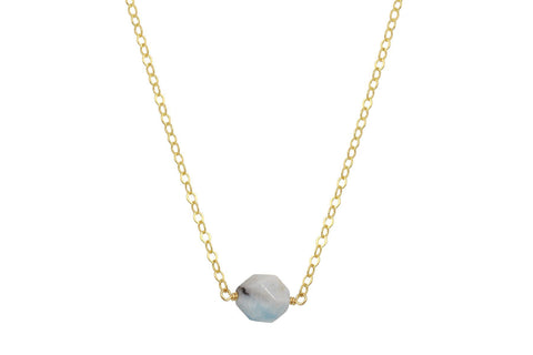 Aquamarine faceted nugget 14K yellow gold filled necklace
