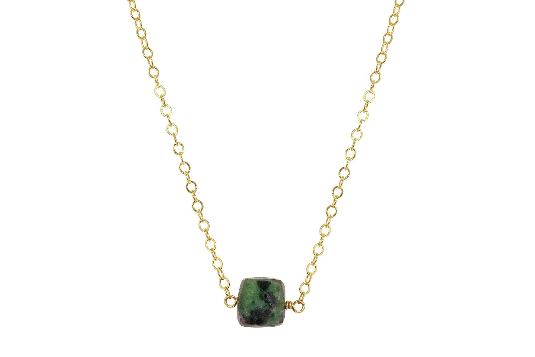 Ruby in Zoisite cube little rock necklace - Amanda K Lockrow
