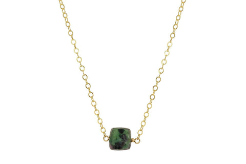 Ruby in Zoisite cube little rock necklace