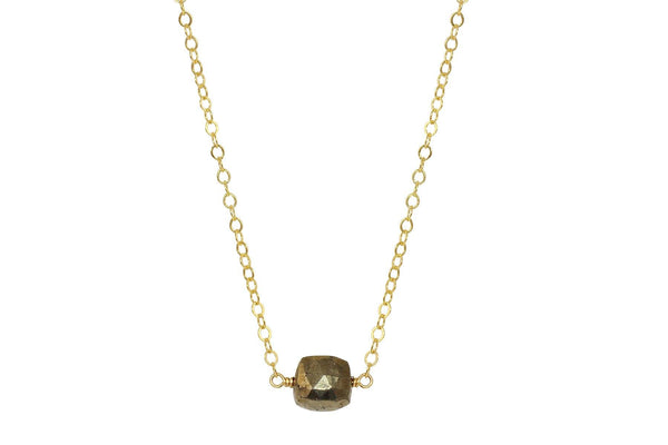 Pyrite cube little rock necklace