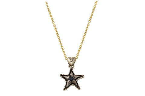 Lana necklace - sterling silver and Blue Sapphire starfish necklace - Amanda K Lockrow