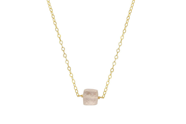 Rose Quartz cube little rock necklace - 14K yellow gold filled or sterling silver - Amanda K Lockrow