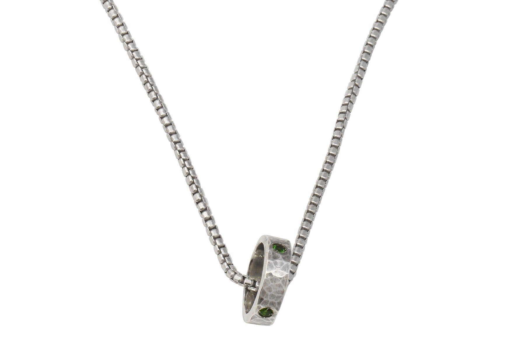 Full Circle sterling silver and chrome diopside unisex necklace - Amanda K Lockrow