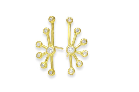 Golden ray sparkle stud earrings - gold plated sterling silver