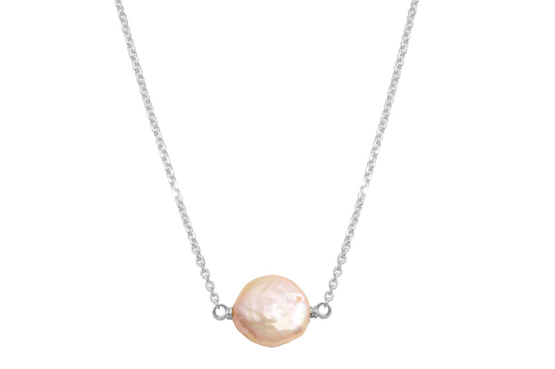 Pink coin pearl little rock sterling silver necklace - Amanda K Lockrow