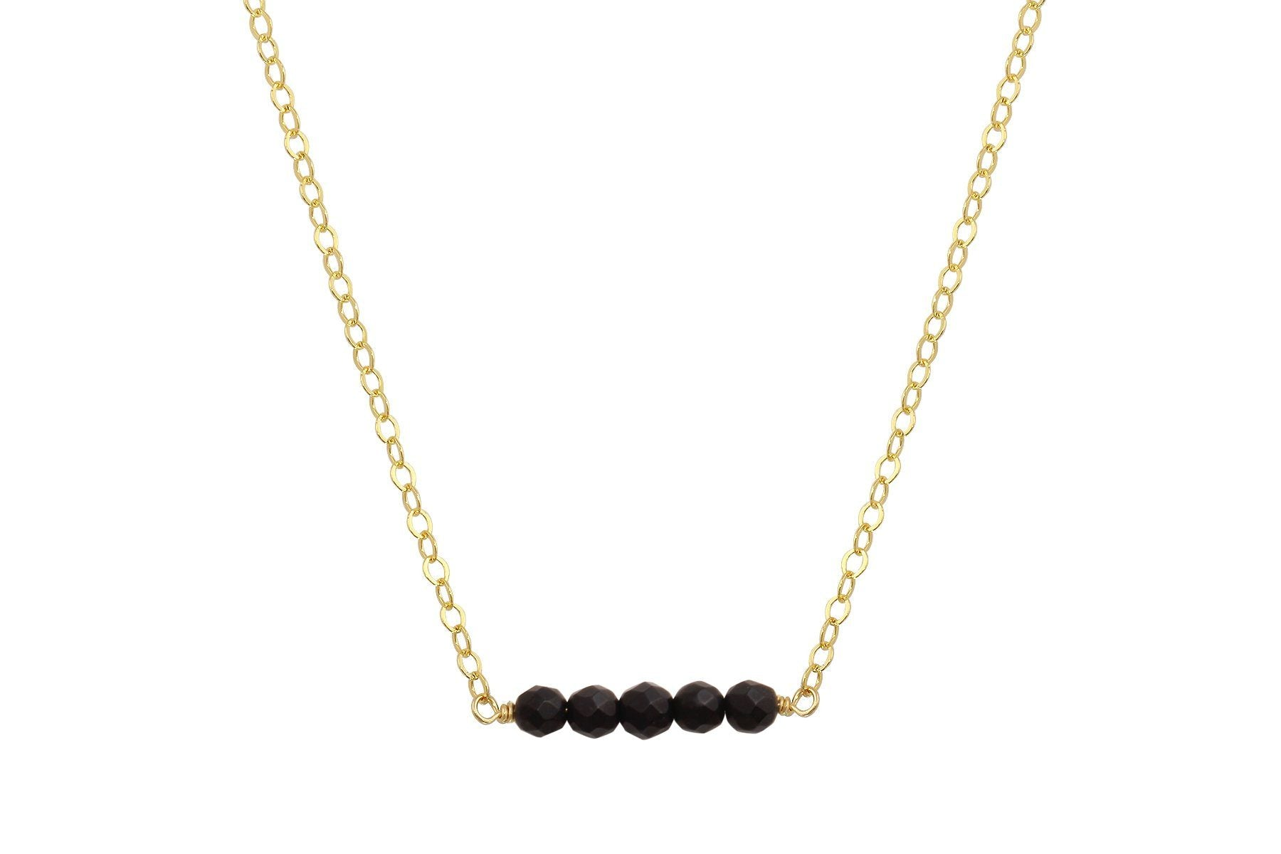 Elements matte Black Onyx yellow gold fiiled necklace - quick ship
